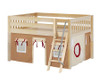 Maxtrix MANSION Low Loft Bed with Curtains Full Size Natural 9 | Maxtrix Furniture | MX-MANSION30-NX