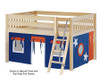 Maxtrix MANSION Low Loft Bed with Curtains Full Size Natural 10   26459   MX-MANSION42-NX