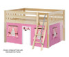 Maxtrix MANSION Low Loft Bed with Curtains Full Size White | 26462 | MX-MANSION73-WX
