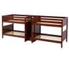 Maxtrix META Quadruple Medium Bunk Bed with Stairs Full Size Chestnut | Maxtrix Furniture | MX-META-CX