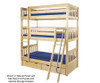 Maxtrix MOLY Triple Bunk Bed Twin Size Chestnut | 26486 | MX-MOLY-CX