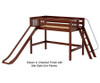 Maxtrix NINJA Mid Loft Bed with Slide Twin Size Chestnut | 26489 | MX-NINJA-CX