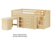 Maxtrix PERFECT Storage Low Loft Bed with Stairs & Desk Full Size Natural | 26501 | MX-PERFECT2L-NX