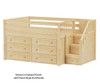 Maxtrix PERFECT Storage Low Loft Bed with Stairs Full Size Natural 1 | 26503 | MX-PERFECT3-NX