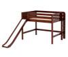 Maxtrix PRETTY Mid Loft Bed with Slide Full Size Chestnut | Maxtrix Furniture | MX-PRETTY-CX
