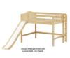 Maxtrix PRETTY Mid Loft Bed with Slide Full Size Natural | 26506 | MX-PRETTY-NX