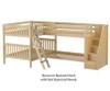 Maxtrix QUANTUM Corner Bunk Bed with Stairs Full Size Natural | 26511 | MX-QUANTUM-NX