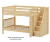 Maxtrix QUASAR Medium Bunk Bed with Stairs Full Size Natural | 26513 | MX-QUASAR-NX