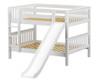 Maxtrix ROCK Low Bunk Bed w/ Slide Full Size White | Maxtrix Furniture | MX-ROCK-WX