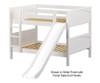 Maxtrix ROCK Low Bunk Bed w/ Slide Full Size White | 26524 | MX-ROCK-WX