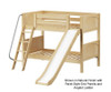 Maxtrix SMILE Low Bunk Bed w/ Slide Twin Size Chestnut | Maxtrix Furniture | MX-SMILE-CX