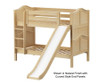 Maxtrix SMILE Low Bunk Bed w/ Slide Twin Size Natural | 26544 | MX-SMILE-NX