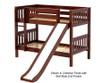 Maxtrix SMILE Low Bunk Bed w/ Slide Twin Size White   Maxtrix Furniture   MX-SMILE-WX