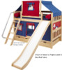 Maxtrix SMILEY Bunk Bed with Slide, Top Tent  and  Curtains   Maxtrix Furniture   MX-SMILEY