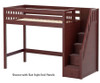 Maxtrix STAR High Loft Bed with Stairs Twin Size Chestnut | 26554 | MX-STAR-CX