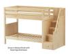 Maxtrix STELLAR Medium Bunk Bed with Stairs Twin Size Natural   26561   MX-STELLAR-NX