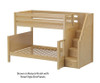 Maxtrix SUMO Bunk Bed with Stairs Twin over Full Size White | 26568 | MX-SUMO-WX