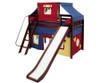 Maxtrix SWEET Mid Loft Bed with Tent & Slide Twin Size Natural 2   Maxtrix Furniture   MX-SWEET29-NX