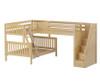 Maxtrix TRIOLOGY Corner Loft Bunk Bed with Stairs Natural | Maxtrix Furniture | MX-TRIOLOGY-NX