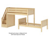 Maxtrix WANGLE L-Shaped Bunk Bed with Stairs Twin Size Natural | Maxtrix Furniture | MX-WANGLE-NX