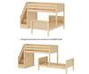 Maxtrix WANGLE L-Shaped Bunk Bed with Stairs Twin Size White | Maxtrix Furniture | MX-WANGLE-WX