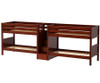 Maxtrix WONDERFUL Quadruple Low Bunk Bed with Stairs Twin Size Chestnut | Maxtrix Furniture | MX-WONDERFUL-CX