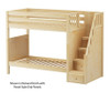Maxtrix WOPPER High Bunk Bed with Stairs Twin Size Natural | 26652 | MX-WOPPER-NX