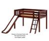 Maxtrix WOW Low Loft Bed with Slide Twin Size Chestnut   26654   MX-WOW-CX