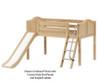 Maxtrix WOW Low Loft Bed with Slide Twin Size Natural | Maxtrix Furniture | MX-WOW-NX