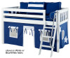 Maxtrix Low Loft Bed w/ Angled Ladder and Curtains | 26714 | MXEASYRIDER