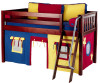 Maxtrix Low Loft Bed Chestnut with Angled Ladder and Curtains | 26715 | MXEASYRIDER21C