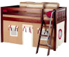 Maxtrix Low Loft Bed Chestnut with Angled Ladder and Curtains | Matrix Furniture | MXEASYRIDER21C