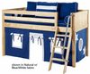 Maxtrix Low Loft Bed Natural with Angled Ladder and Curtains | Matrix Furniture | MXEASYRIDER21N