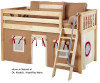 Maxtrix Low Loft Bed Natural with Angled Ladder and Curtains | 26716 | MXEASYRIDER21N