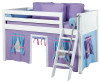 Maxtrix Low Loft Bed White with Angled Ladder and Curtains 2 | 26720 | MXEASYRIDER24W