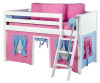 Maxtrix Low Loft Bed White with Angled Ladder and Curtains 3 | 26721 | MXEASYRIDER25W
