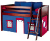 Maxtrix Low Loft Bed Chestnut with Angled Ladder and Curtains 2 | 26725 | MXEASYRIDER29C