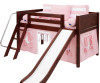 Maxtrix Low Loft Bed Chestnut with Angled Ladder and Curtains 2 | Matrix Furniture | MXEASYRIDER29C