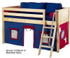 Maxtrix Low Loft Bed Natural with Angled Ladder and Curtains 3 | 26726 | MXEASYRIDER29N