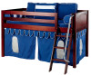 Maxtrix Low Loft Bed Chestnut with Angled Ladder and Curtains 3 | 26727 | MXEASYRIDER30C