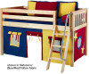 Maxtrix Low Loft Bed Natural with Angled Ladder and Curtains 4 | 26728 | MXEASYRIDER30N