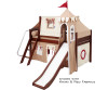 Maxtrix Low Loft Bed Chestnut with Curtains, Slide, Tower & Tent | 26733 | MXWOW21C