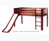 Maxtrix Low Loft Bed Chestnut with Curtains, Slide, Tower & Tent | Matrix Furniture | MXWOW21C