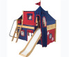 Maxtrix Low Loft Bed Natural with Curtains, Slide, Tower & Tent 1   26736   MXWOW22N