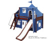 Maxtrix Low Loft Bed Chestnut with Curtains, Slide, Tower & Tent 2 | Matrix Furniture | MXWOW23