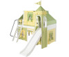Maxtrix Low Loft Bed White with Curtains, Slide, Tower & Tent   26738   MXWOW23W
