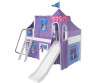 Maxtrix Low Loft Bed White with Curtains, Slide, Tower & Tent 1 | Matrix Furniture | MXWOW24W