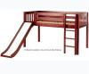 Maxtrix Low Loft Bed Chestnut with Curtains, Slide, Tower & Tent 3 | Matrix Furniture | MXWOW30