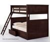 School House Casey Full over Full Bunk Bed Chocolate | NE Kids | NE-5025BUNK