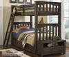 Everglades Harper Twin over Twin Size Bunk Bed Espresso | NE Kids Furniture | NE11051